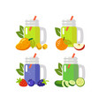 fruit and vegetable juices in mug flat style vector image vector image