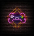 game zone neon sign bright signboard light vector image vector image