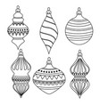 hand drawn outline christmas balls collection for vector image vector image