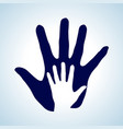 hand in hand in white and blue rendering help vector image vector image