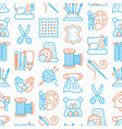 handmade seamless pattern with thin line icons vector image