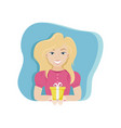 happy woman with a gift in her hands birthday vector image vector image