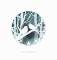 hello winter 3d abstract paper cut of vector image vector image
