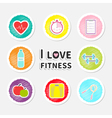 I love fitness round icon set isolated Timer water vector image vector image