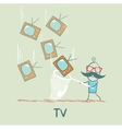man catches a butterfly net TV vector image vector image
