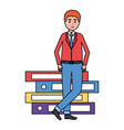 man with books stacked vector image vector image