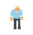 muscular sailor man seaman character in striped vector image vector image