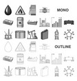 oil industry monochrom icons in set collection for vector image