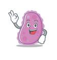 okay bacteria character cartoon style vector image
