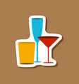 paper sticker cocktail glasses vector image vector image