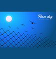 peace day card of dove birds for world freedom vector image