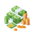 pile of cash and gold coins heap of dollar bills vector image