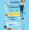 pilot profession airport and plane vector image vector image