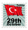 post stamp of national day of Turkey vector image vector image