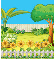 Scene with trees and flowers in backyard vector image vector image