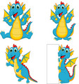set cartoon dragons with blank sign vector image vector image