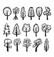 set hand-drawn trees vector image