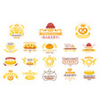 set of vintage bakery labels emblems with vector image vector image