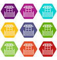 shop balcony icons set 9 vector image