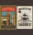 surfing camp and shark danger retro poster vector image vector image