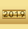 the year 2019 displayed on a mechanical counter vector image vector image