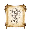 vintage parchment with modern lettered holiday vector image vector image