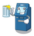with juice atm machine next to character table vector image vector image