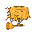 with trumpet table cloth mascot cartoon vector image