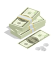 Hundreds of dollars Stacked pile of cash Stack vector image
