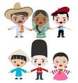 Multicultural children holding hands vector image