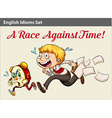 A boy racing against time vector image