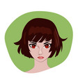 anime girl with brown bob hair portrait vector image vector image