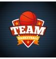 basketball team logo template with ball stars vector image