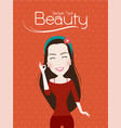 beautiful lady smile cute ok sign vector image