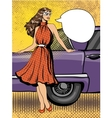 Beautiful woman in dress stay next to car Comic vector image
