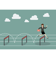 Business woman jumping over hurdle vector image vector image