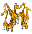 cartoon giraffes animal characters group vector image vector image