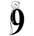 cartoon of man or businessman holding big number vector image