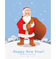 Cartoon Santa Claus New Year greeting card vector image