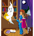 children and a ghost vector image vector image