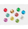 christmas baubles on transparent background vector image vector image