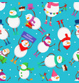 christmas seamless pattern with funny characters vector image