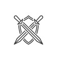 crossed swords with shield icon in thin vector image