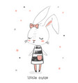 cute girl rabbit character little cutie hand vector image