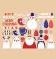 cute set christmas elements vector image