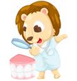 Dentist lion vector image vector image