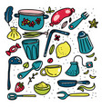 doodle cartoon kitchen elements big set vector image vector image
