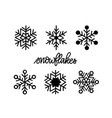 doodle snowflake icons winter christmas set vector image