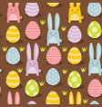 easter bunnies and eggs seamless pattern vector image vector image
