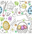 easter pattern with eggs and rabbit vector image vector image